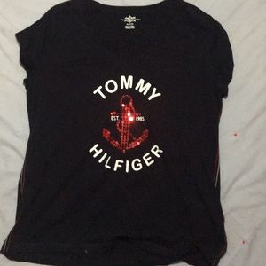 Tommy Hilfiger Cap Sleeve Top w/ Red Anchor Sz XL